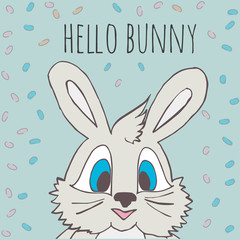 Cute little rabbit with the words Hello Bunny.
