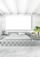 Vertical Bedroom Minimal or Loft style Interior Design. 3D Rendering. Concept idea.