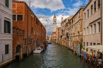Venice city in Italy. Canals, buildings and boats. Travel (vacation) concept.
