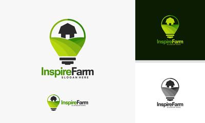 Inspire Farming logo template, Nature Idea logo designs vector