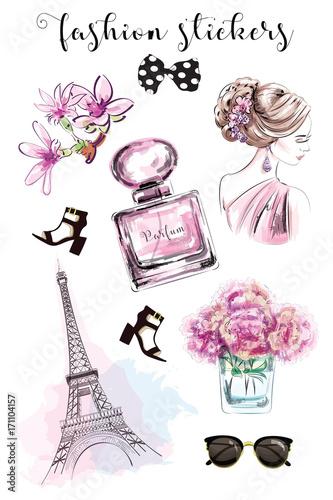 Cute Hand Drawn Set With Fashion Stickers Beautiful Woman Parfume Bottle Flowers