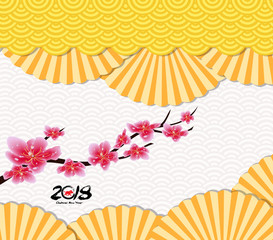 Classic Chinese new year blossom and oriental folding Paper Fan. Year of the dog 2018