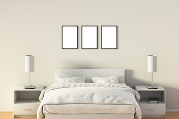 Blank poster in bedroom