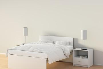 Blank wall in bedroom