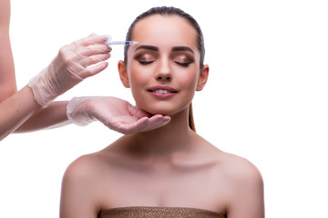 Woman in beauty concept having botex facelift