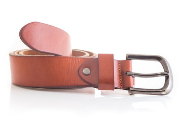 leather belt isolated on white background