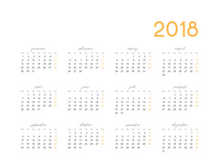 Calendar for 2018 germany simple on white background vector illustration.