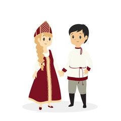 cute Russian couple, wearing traditional Russian dress cartoon vector