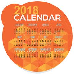 2018 Orange Geometric Round Shape Printable Calendar Starts Sunday Vector Illustration