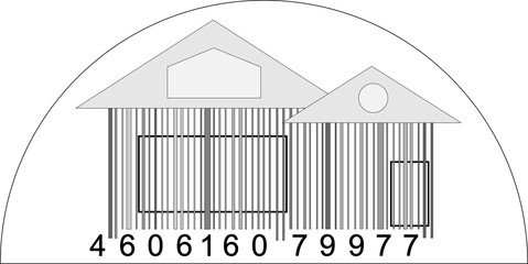 house from barcode / minimalistic house logo / black and white