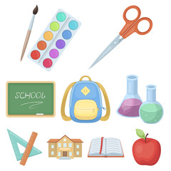 Set of pictures about the school. Study training. Supplies for school.Outfit of the student. School and eduacation icon in set collection on cartoon style vector symbol stock illustration.
