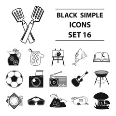Picnic set icons in black style. Big collection of picnic vector symbol stock illustration