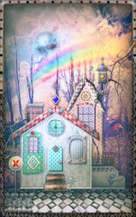 Fairytales farmhouse in the storm with rainbow.