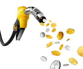 Coins with dollar sign pump out from gasoline pump