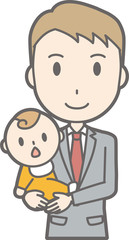 Illustration that a businessman wearing a suit holds a baby
