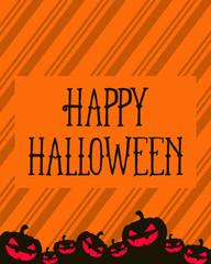 Halloween greeting card orange background