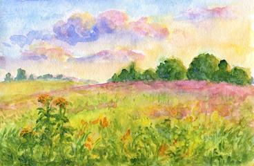 Fotobehang Pistache Sunset meadows - watercolor landscape