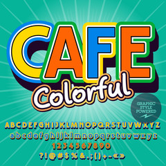Vector board for young Colorful Cafe and set of Alphabet. Contains Font with Graphic style