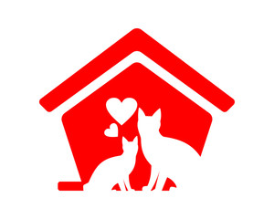 red cat lovers pet house icon image vector