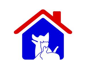 dog cat rabbit silhouette blue pet house icon image vector