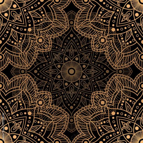 Golden Luxury Background Vector Gold Black Flower Pattern Design Floral Mandala Ornament For Wedding
