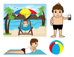 Cartoon People at Sea Beach - clip-art characters vector