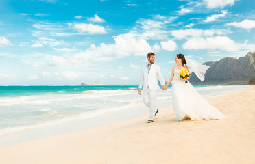 Just married couple walking on tropical beach. Exotic wedding destination. (location Hawaii)