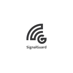 wifi or wireless signal and letter G logo in black color. vector illustrator.