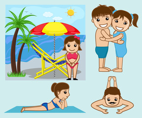 Cartoon People Enjoying at Beach Vectors