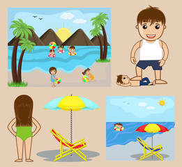 Celebrate Picnic at Beach � Cartoon Vectors