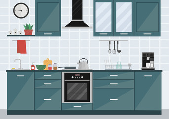 Kitchen room interior with appliances and furniture. Home art. Flat style vector illustration.