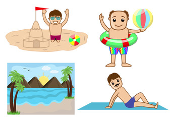Cartoon Characters and Sea Landscape Vector