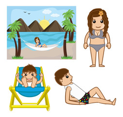 Cartoon Boy and Girl at Beach