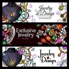 Jewelry and luxury fashion jewel banners