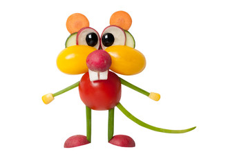 Mouse made with vegetables on isolated background