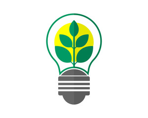 lamp bulb green leaf plants icon image vector
