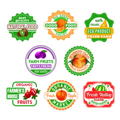 Fruit labels for eco farm food and juice design