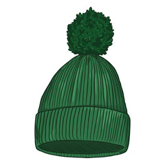 Vector Cartoon Knitted Hat with Pompom