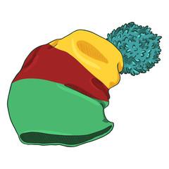 Vector Cartoon Winter Textile Cap with Pompom