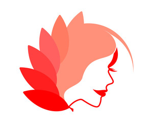 red beauty elegance cosmetics face head icon image vector