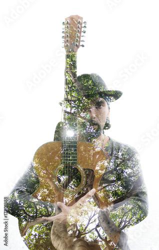 Double exposure portrait of a mature and confident guitar