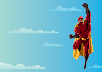 Superhero Flying 2 Sky / Cartoon illustration of flying superhero over sky background and copy space.