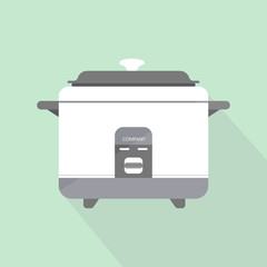 flat rice electric cooker oven vector.