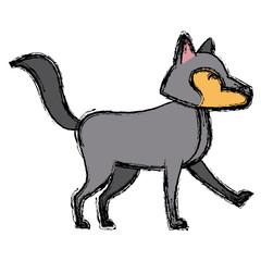 Wolf cartoon animal icon vector illustration graphic design