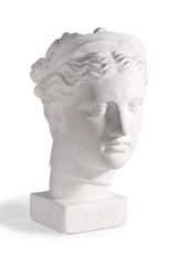 Gypsum head of the ancient Greek goddess Diana on a white background