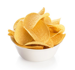 Bowl with potato chips isolated on a white background.
