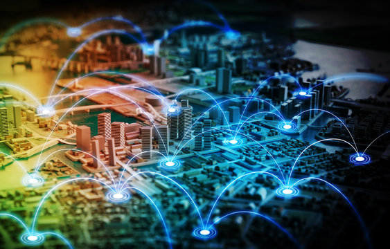 Miniature model city and communication network concept. IoT(Internet of Things). ICT(Information communication network). abstract mixed media.