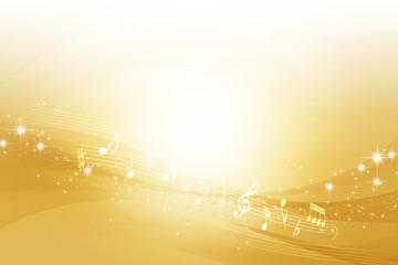 音符と金色のウェーブ 抽象的な背景