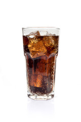 Full glass of soft drink, isolated on white background