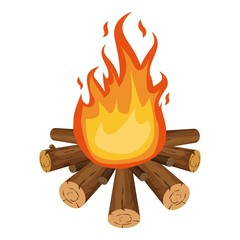 Bonfire icon, cartoon style